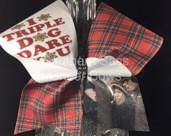 I Triple Dog Dare You Ralphie Christmas Story glitter Cheer Bow Christmas cheer bow holiday bow