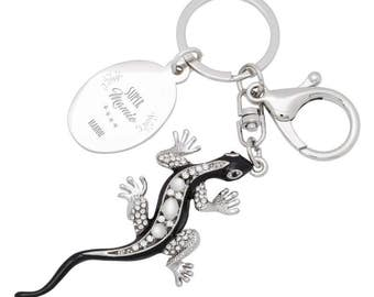 Keychain jewelry bag salamander engraved with your text and name