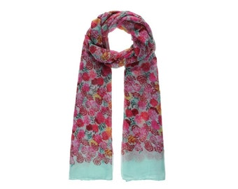 Turquoise Floral Bloom Long Scarf SC2017j