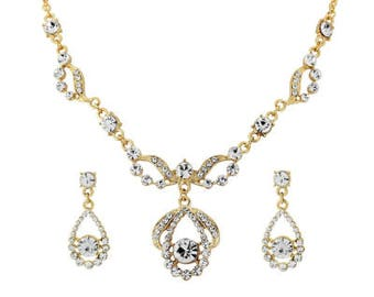 Yellow Gold and Crystal Earrings and Necklace Set