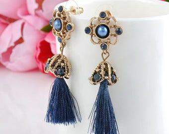 Blue and Gold Drop Tassel Earrings