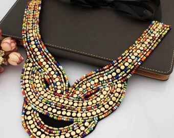 Indian Inspired Beaded Bib Necklace