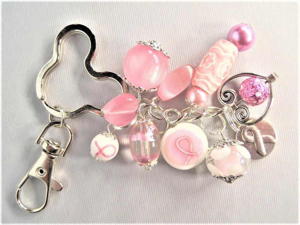 Keychains Lanyards Circuit Board Glass Pendant Photo Necklace Keychain Handcrafted Pink Mickey Mouse Inspired Breast Cancer Awareness Beaded Fob