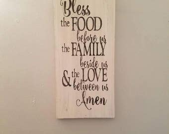 Bless the Food Before Us Wood Sign, Religious sign, Prayer, Kitchen Decor, rustic decor, country