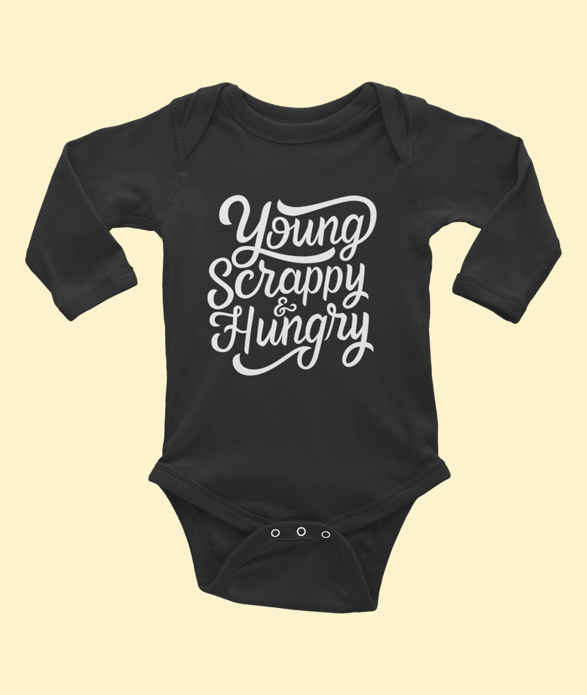 Design your own t-shirt hamilton - Young Scrappy Hungry Long Sleeve Baby Onesie Inspired By Hamilton Musical