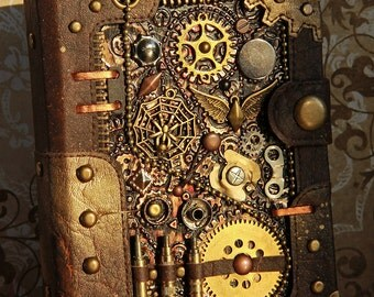"Steampunk journal ""Ammunition"" A6 blank notebook brown diary Steampunk Accessories"