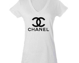 Chanel Inspired White V Neck Shirt