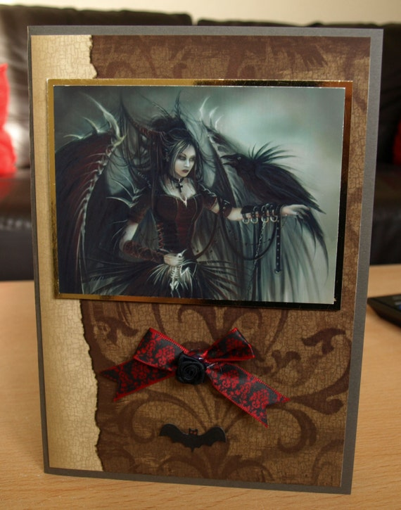 Gothic Handmade Card - birthday luxury personalised unique quality special vampire twilight fantasy UK