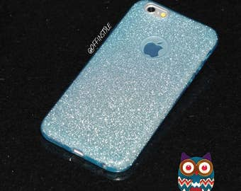 Blue Glitter Fashion 3 in 1 Design Phone Case Flexible TransparentSilicone TPU Glitter Paper Frosted PC iPhone Case | Free Screen Protector