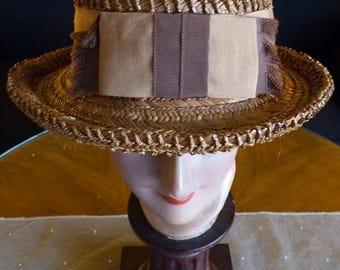 1920 Ladys Straw Hat, antique hat, 1920s