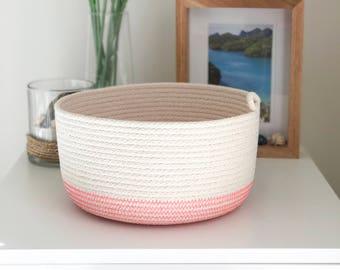 Rope basket, pink, storage basket, rope bowl, cotton, storage, nursery storage, gift idea, housewarming, organiser, jewellery basket