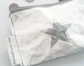 mini wallet, silver star, valentine gift for him, fashion accessories, eco-friendly purse, zipper coin purse, one off item, washable paper