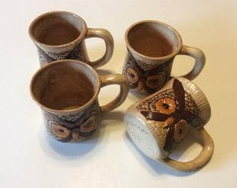 Vintage Ceramic Owl Mug Set