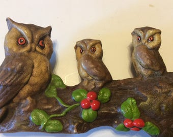 Vintage Resin Owls On a Tree Branch