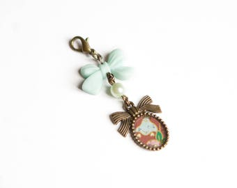 Pastel green bow charm, Midori charm, Traveler's Notebook Charm, Tassel Planner Charm, Journal Charm, Cell Phone Charm, Midori Charm, Bronze