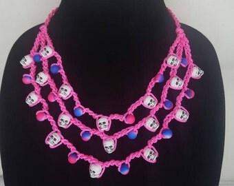 Pink and blue crochet skull necklace- Dia de los muertos