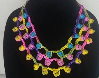 Neon bright crochet skull necklace - Dia de los muertos