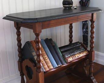 Vintage Accent Table w/ Slanted Bookshelf