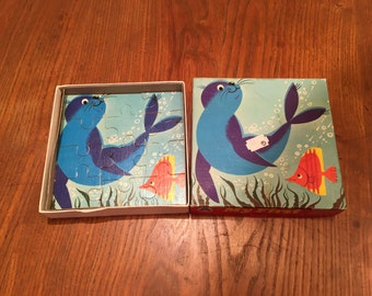 Vintage Puzzle Seal Fish Child