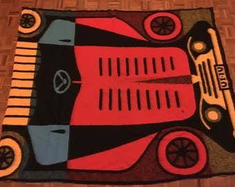 Vintage 1960s Geometric Wool Blanket Rug Throw