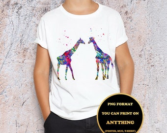 Two Giraffes, African Animals, Wildlife,print on anything, image on transparent background, digital file, Watercolor, printable wall art (8)