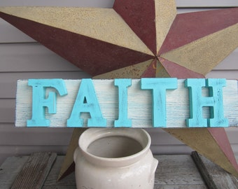 Rustic Wood Sign / FAITH / Rustic Wood Wall Decor / Pallet Wood Sign / Reclaimed Wood Wall Art / Shabby Cottage / Farmhouse / Distressed