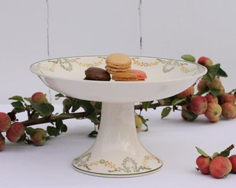 French vintage Longwy 'Georges' cake stand or compotier - tall