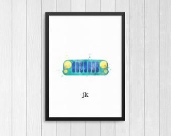 Jeep Jk, Jeep Tj, Jeep Cj, Jeep Yj, Jeep Watercolor prints, Jeep prints, Jeep art