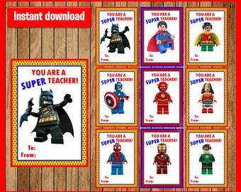 Superhero Teacher Appreciation Cards instant download, Printable Super hero Teacher Appreciation Day , Batman Teacher Appreciation Day Cards