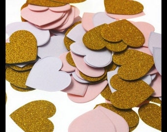 Gold, Pink and White Table Confetti Hearts Pack of 100 Pieces