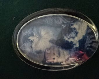 A Lovely Pair of Vintage Glass Paperweights/Mother & 2 Kittens/Collectible/1980s