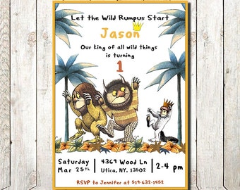 Where the Wild Things Are invitation, Where the Wild Things Are birthday, Where the Wild Things Are, where the wild thing are invitation