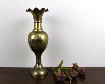 Tall Ruffled Vintage Brass Trumpet Vase 15.6