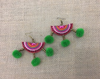 Pom poms Earring With Embroidered Patch Handmade Women Jewelry