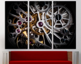 Clockwork Print Clockwork Canvas Art Clockwork Wall Art Clock Canvas Clock  Print Gears Wall Art Gears