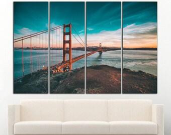 Golden Gate print Golden Gate wall art Golden Gate canvas Bridge California San Francisco Wall Art Large Canvas Print Decor