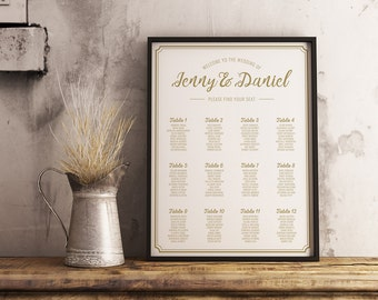 Gold Table Seating Chart | Luxury Wedding Table Seating Chart | Border Seating Chart | Wedding Seating Chart | Golden Seating Chart Wedding