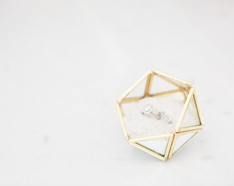 Wedding Ring Box - Mini Icosahedron - Gold Ring Box - Geometric Glass Box - Ring Bearer Box