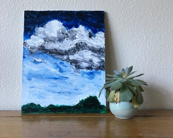 Blue Skies and Clouds Oil Painting, 8x10 Landscape