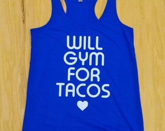 Will gym for tacos tank w/ white glitter print.