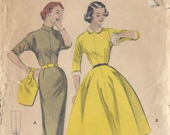 "1950s Vintage Sewing Pattern B32"" DRESS (R379) Butterick 7066"