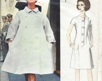 1965 Vintage VOGUE Sewing Pattern B34 DRESS & COAT (1318) By Fabiani of Italy 1577
