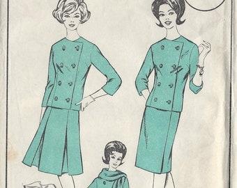 1960s Vintage Sewing Pattern B42-W34 Suit-Jacket , Skirt  & Scarf  (R668)