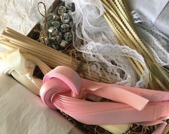 100 wedding wands,DIY wedding wand kit, send off, bells, satin ribbons, lace, rustic, shabby chic, country chic