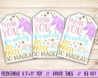 PRINTABLE Unicorn Birthday Favor Tag, Unicorn Favor Tag, Unicorn Party Favor Tag, Magical Birthday Tag, Rainbow Favor Tag, Rainbow Birthday