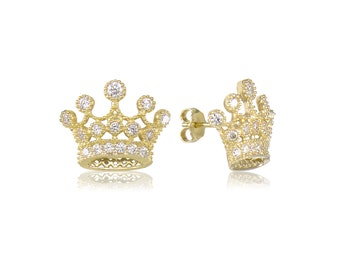 10K Solid Yellow Gold Cubic Zirconia Crown Stud Earrings - Royal