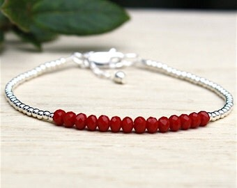 Red quartz and 925 solid silver pearls gems stones bracelet