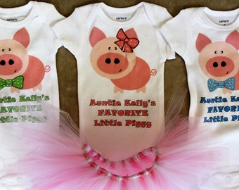 Three Little Pigs triplet bodysuits/Triplet outfits/Favorite Little Piggy bodysuits/Pig tutus/Triplet shirts