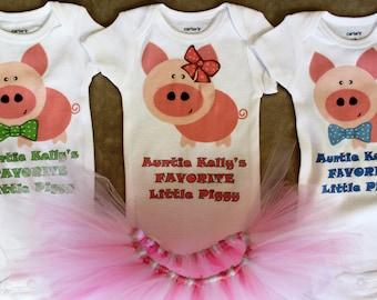 Three Little Pigs triplet bodysuits/Triplet outfits/Favorite Little Piggy bodysuits/Pig tutus/Triplet shirts