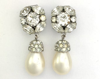 Vintage Austrian Paste and Pearl Drop Clip-on Earrings